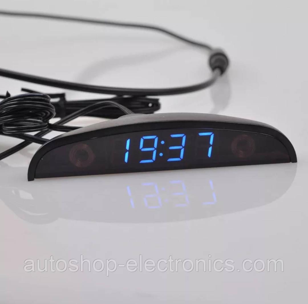 Часы автомобильные + датчик наружной температуры + вольтметр + сенсорное управление