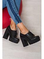 Женские туфли из натуральной кожи черного цвета на удобном толстом каблуке GRUNGE BLACK LEATHER