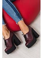 Женские туфли из натуральной кожи бордового цвета на удобном толстом каблуке GRUNGE MARSALA LEATHER