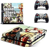 Виниловые наклейки для PS4 и Dualshock Grand Theft Auto 5 (GTA 5) Custom Skin