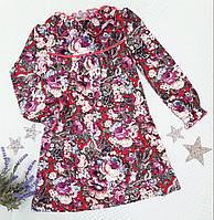 Трикотажное детское платье-туника в цветочек Deloras на девочку р. 98-128 , фото 1