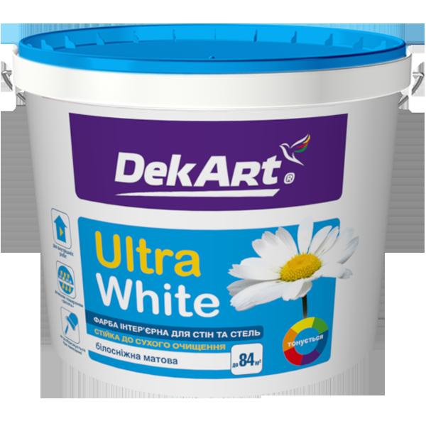 """Краска интерьерная для стен и потолков белоснежная """"Ultra White"""" - DekArt (1,2 кг)"""