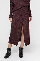 Женская вязаная юбка (42-44, бордо меланж)