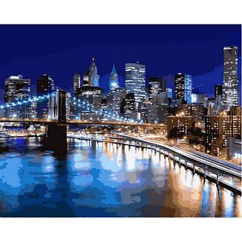 """Картина по номерам """"Ночные огни Нью-Йорка"""", 40x50 см., Babylon"""