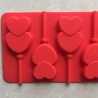 Форма силиконовая для конфет, леденцов Сердце двойное