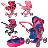 Детская коляска трансформер для кукол 9346: люлька + корзина для игрушек + регулируемая ручка