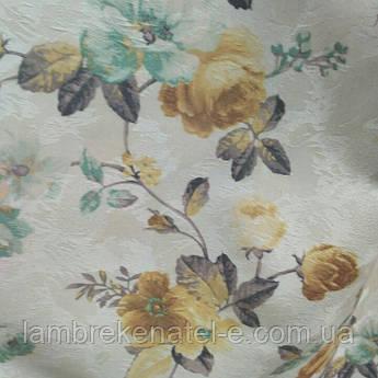 """Ткань для штор бежевые цветы """"Розарий"""""""