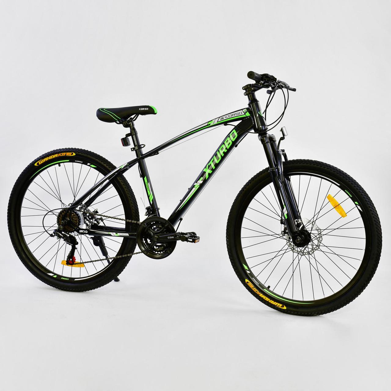 """Велосипед Спортивный CORSO 26"""" 0015 - 8099 BLACK-GREEN X-Turbo 75786"""