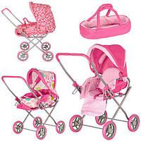 Детская коляска трансформер для кукол Sweet Pink 9391: люлька + корзина для игрушек