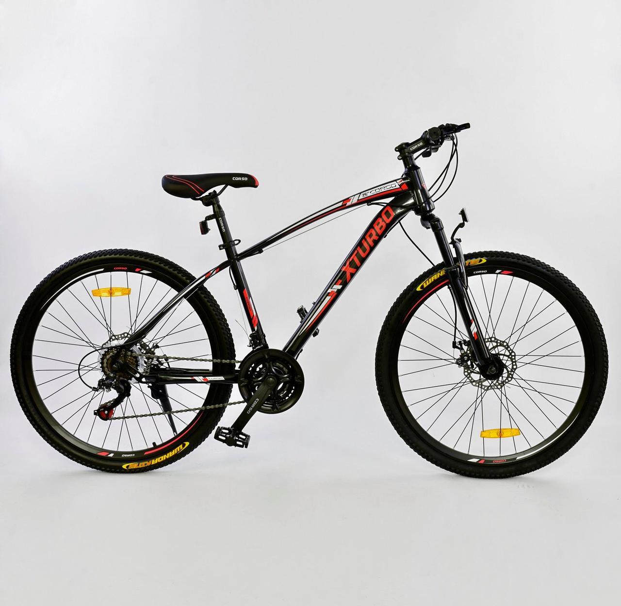 "Велосипед Спортивный CORSO 26"" 0015 - 701 BLACK-RED X-Turbo 75788"