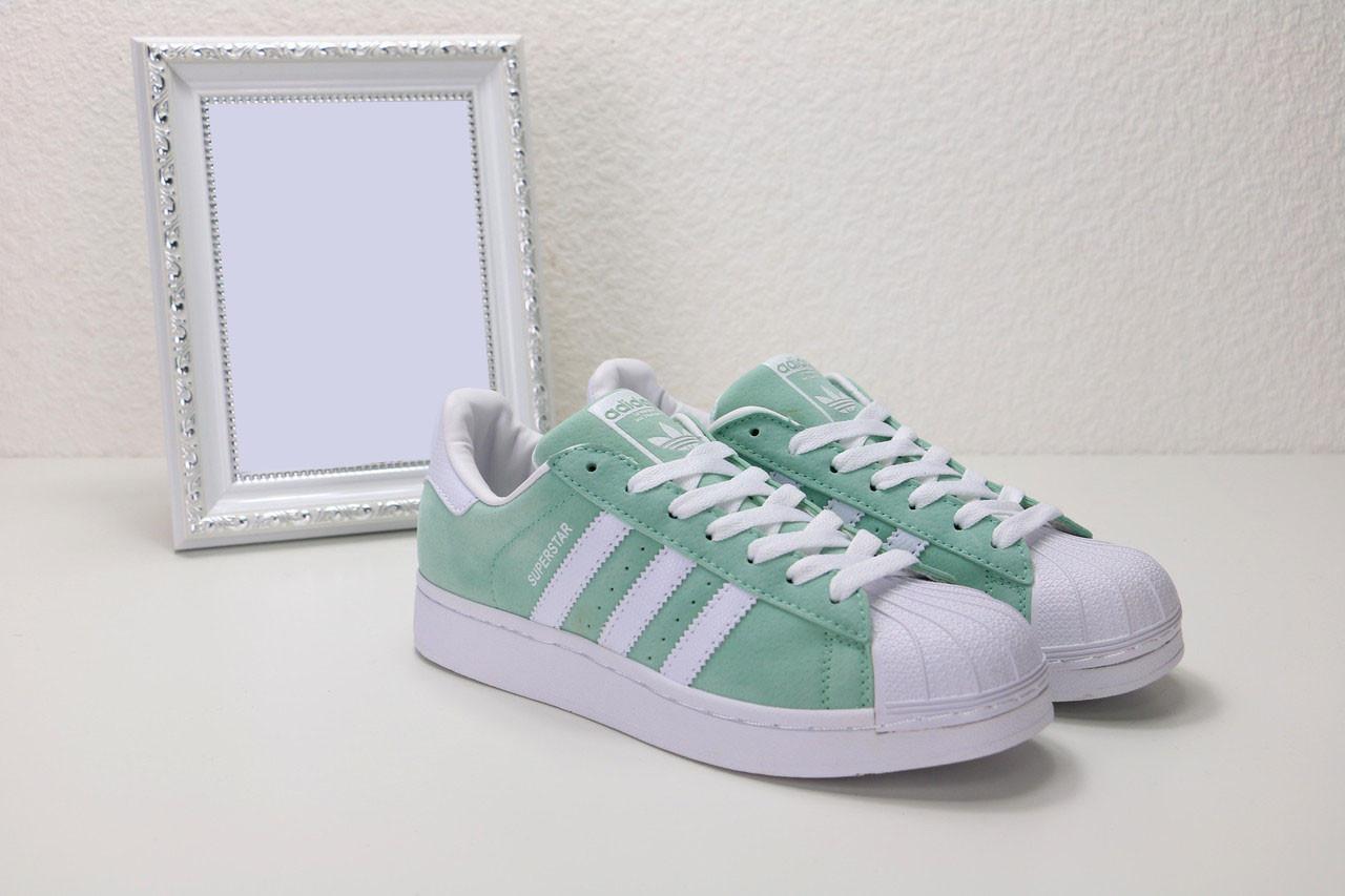 Женские салатовые кроссовки, кеды  Adidas Superstar Olive ( Адидас суперстар )