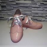 Туфлі жіночі лакові на шнурках, фото 4