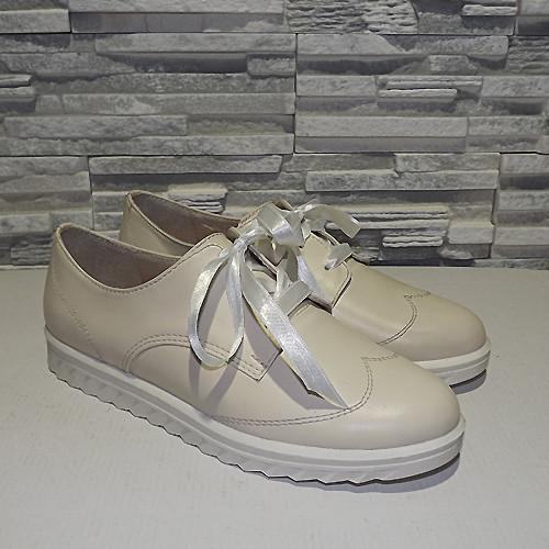 Туфли кожаные на утолщенной подошве, на шнурках