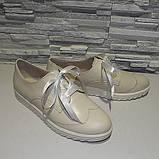 Туфли кожаные на утолщенной подошве, на шнурках, фото 3