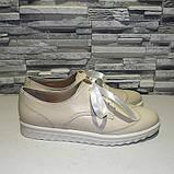 Туфли кожаные на утолщенной подошве, на шнурках, фото 4