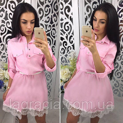 Модное легкое летнее платье (лен) Розовый, фото 2