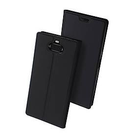 Чехол книжка для Sony Xperia 10 I3113 боковой с отсеком для визиток, DUX DUCIS, черный
