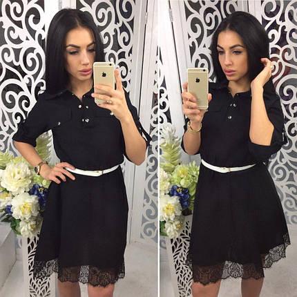 Черное летнее платье клеш лён Черный, фото 2