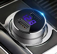 Автомобильное зарядное 2хUSB + тестер напряжения (вольтметр) + выходной ток