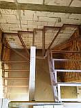 Поворотно-забежной каркас лестницы под обшивку. П-образная лестница, фото 5