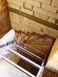Поворотно-забежной каркас лестницы под обшивку. П-образная лестница, фото 3