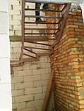 Поворотно-забежной каркас лестницы под обшивку. П-образная лестница, фото 4
