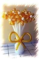 """Букет из воздушных шаров """"ромашки золото-белый в мини-вазе"""" 7 шт"""
