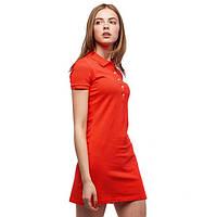Платье поло Lacoste красно-оранжеове
