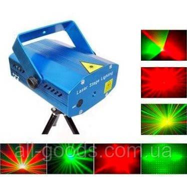 Лазерный диско проектор стробоскоп лазер светомузыка 3 режима, микрофон, регулировки, фото 2