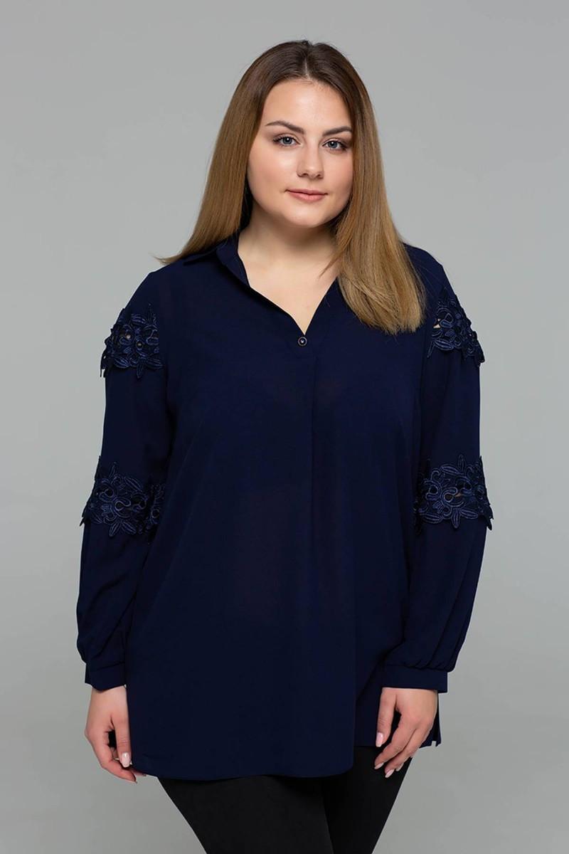 Блузка с кружевом АНДРЕА большие размеры 56