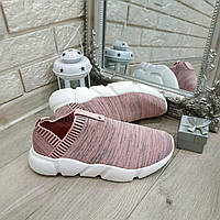 Женские мокасины (кроссовки) оптом легкие Код ОМ - 1996 pink/white