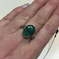 Кольцо с изумрудом в серебре 17,5-18 размер. Изумрудное кольцо Индия!, фото 1