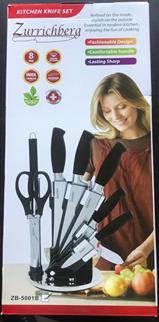 Набор ножей на подставке 8 предметов Zurrichberg ZB 5001B кухонный набор, фото 2