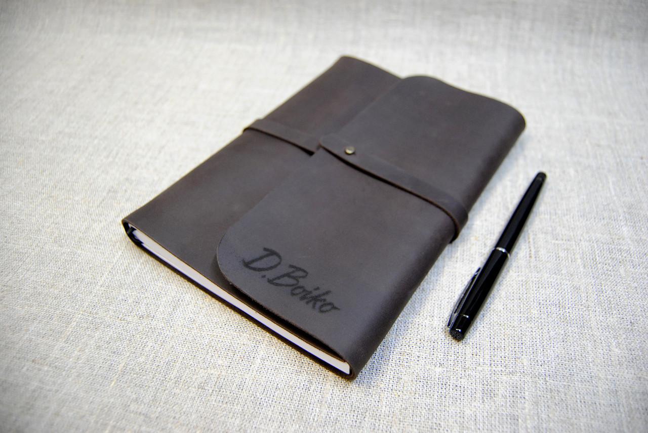 Софтбук А5 с кожаной обложкой и лазерной гравировкой. Блокнот с кожаной обложкой