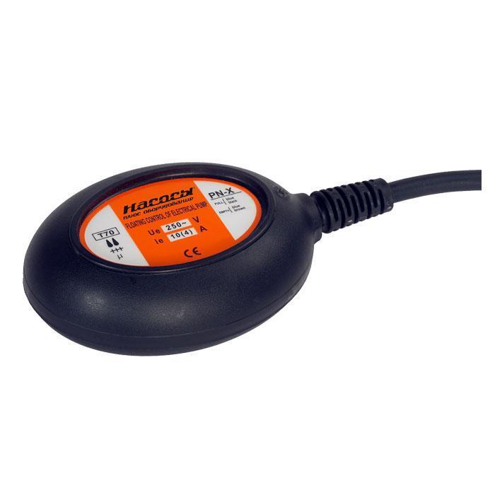 Выключатель поплавковый Насосы+оборудование PN-X (кабель 5м. 3х0.75мм2, грузило, 10А)