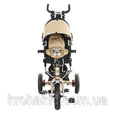 Трехколесный велосипед Turbotrike M 3115-7HA (бежевый) на надувных колесах с игровой панелью, фото 3
