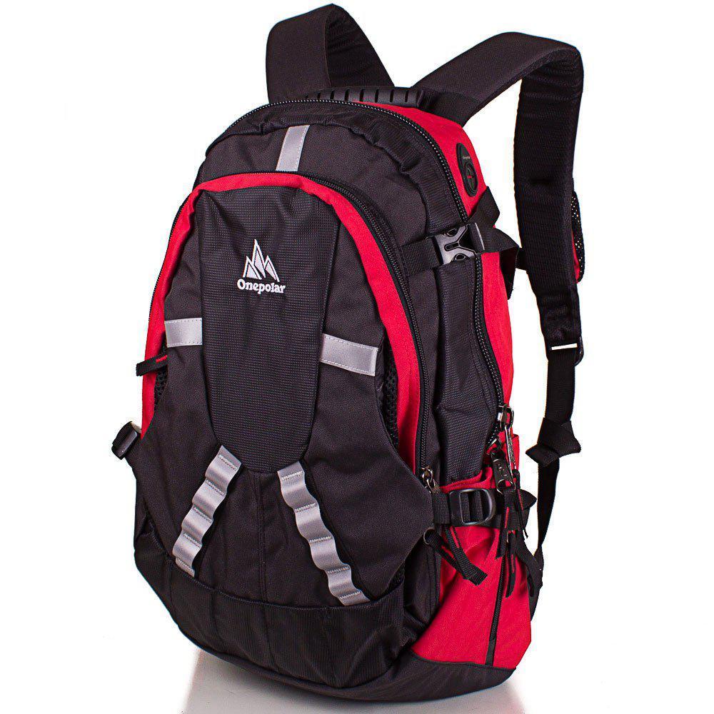 29d47fc9332c Рюкзак спортивный для мужчины, цвет черный с красным Onepolar W1017-red, 30  л