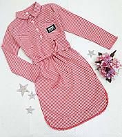 Платье-рубашка в мелкую клеточку, р. 134-152, красный, фото 1