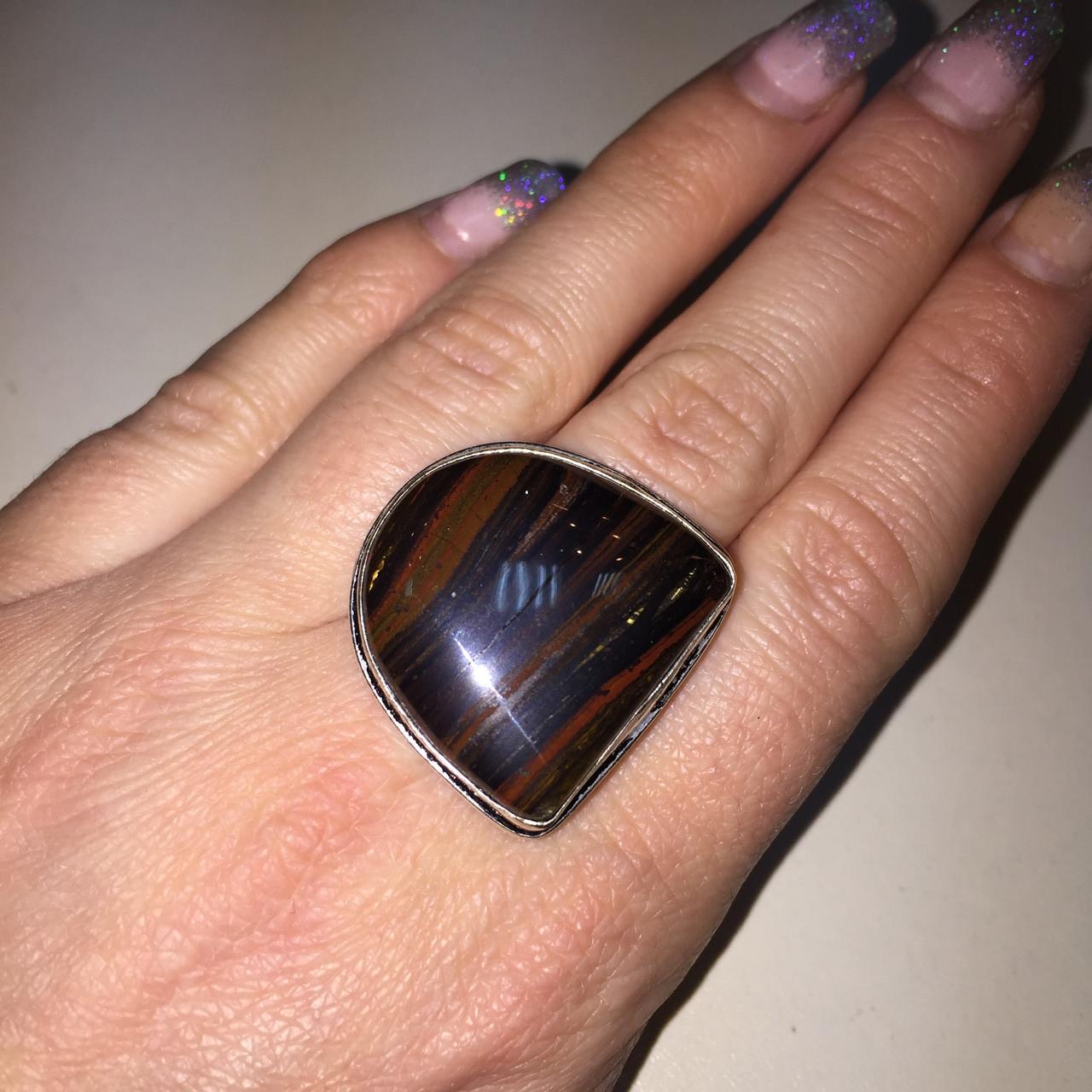 Джеспилит тигровое железо кольцо с камнем джеспилит 20 размер. Кольцо с джеспилитом Индия!