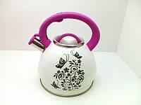 Чайник со свистком 3 литра А-Плюс WK-1389, двойное дно, нержавеющая сталь, термо-рисунок