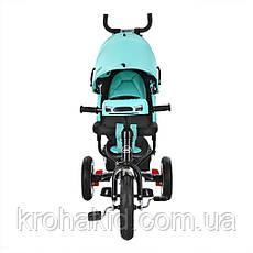 Трехколесный велосипед Turbotrike M 3115-9HA (бирюзовый) на надувных колесах с игровой панелью, фото 2