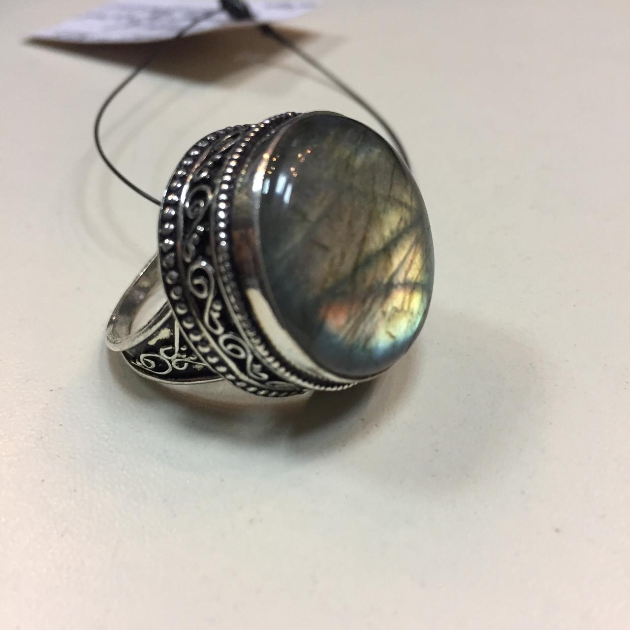 Кольцо лабрадорит спектролит кольцо круглое с натуральным лабрадором спектролитом 20 размер Индия!