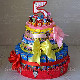 """Торт в детский сад из сока и конфет """"L.O.L."""""""