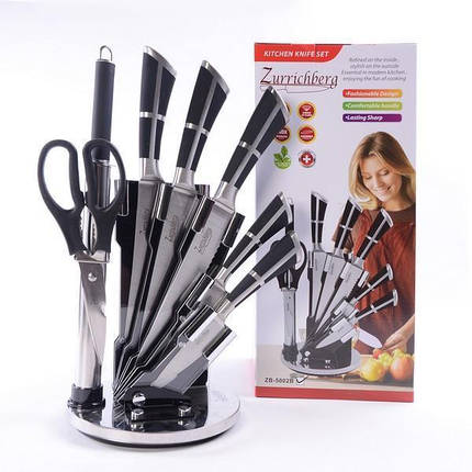 Кухонный набор Zurrichberg ZB 5002 набор ножей на подставке 8 предметов, фото 2