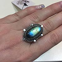 Лабрадор кольцо с натуральным лабрадоритом в серебре 17,5-18  размер Индия, фото 1