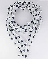 Итальянский шарф Girandola 0001-38 белый с синими горошками, коттон 80%, шелк 20%