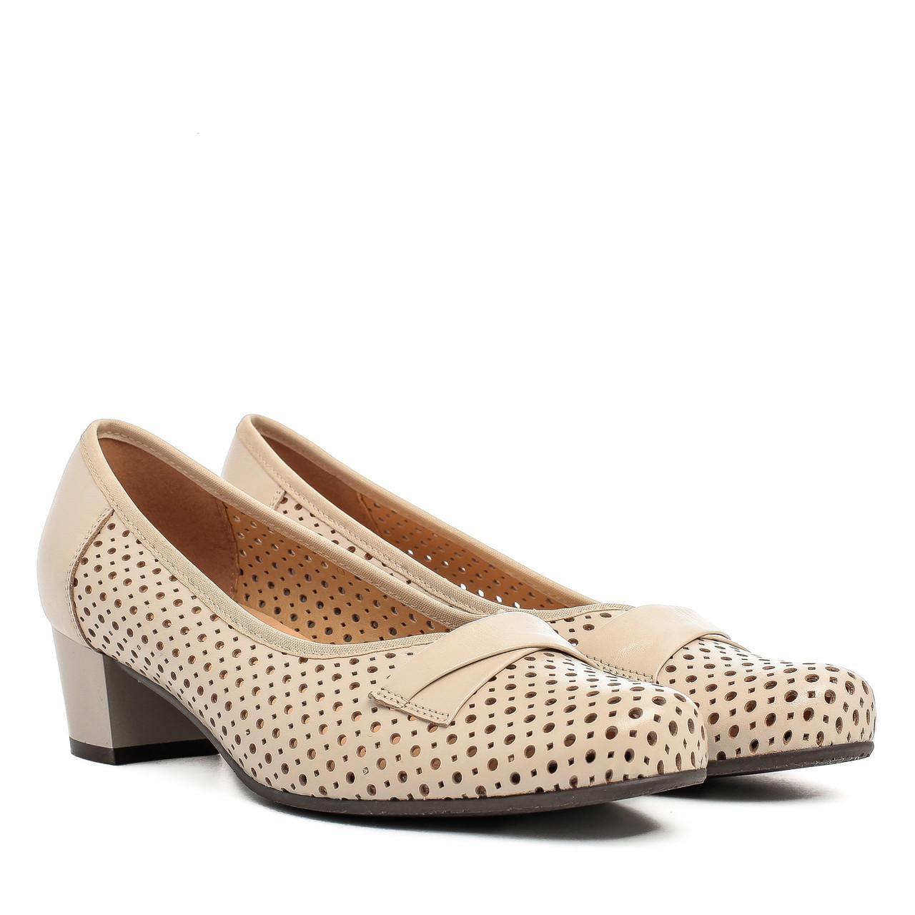 8358d9b07e35ff Туфли женские GORAL (нежный оттенок, кожаные, с перфорацией, на удобном  каблуке)