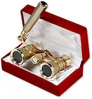 Изящный бинокль под золото, для настоящих театралов, 3х25 (gold), система призм roof, ручка, бархатный футляр