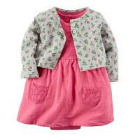 Летний комплект для девочки (платье + кофточка) , Mega Sale -25% off, размеры : 12M,18M,24M,6M,9M