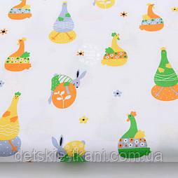 """Ткань хлопковая """"Пасхальные курочки и кролики"""" на белом фоне №2135а"""